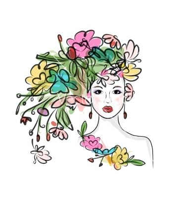 Female face with floral hairstyle for your design vector by.