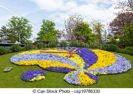 Stock Photos of Beautiful and colorful floral clock in geneva.