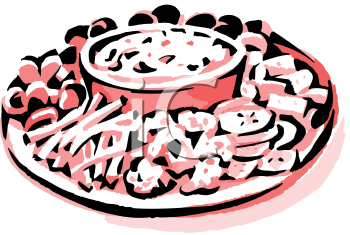 A Platter Of Hors D'Oeuvres Clipart Image.