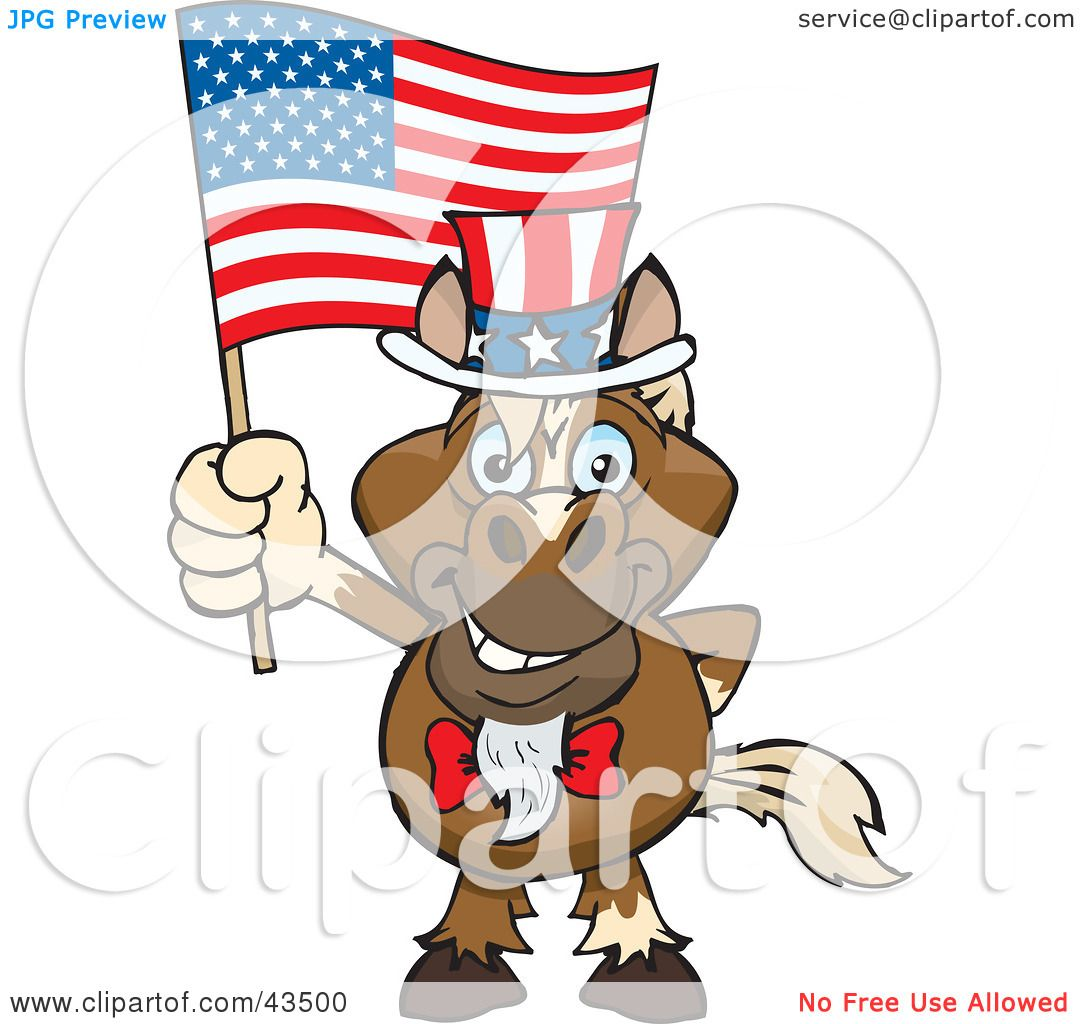 Clipart Illustration of a Patriotic Uncle Sam Horse Waving An.
