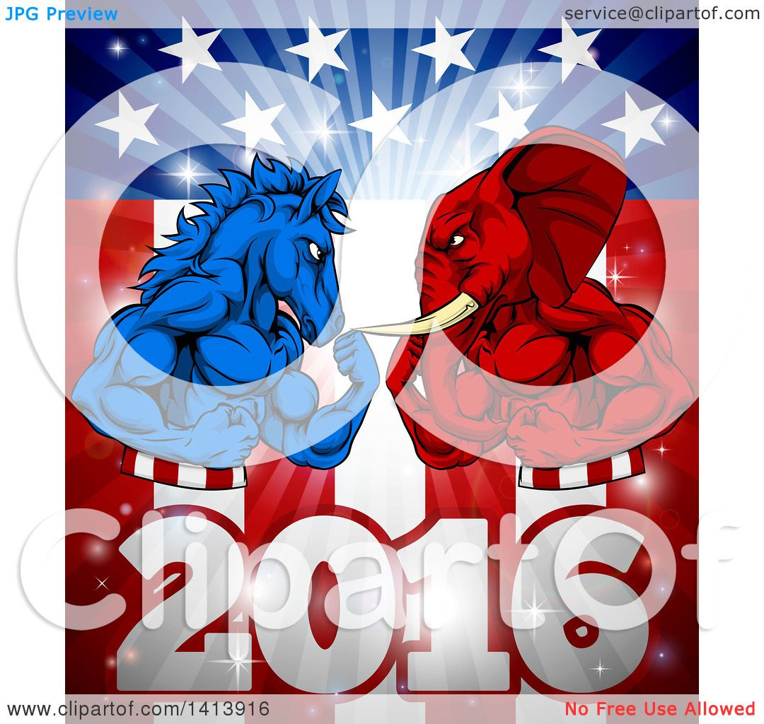 Clipart of a Political Aggressive Democratic Donkey or Horse and.