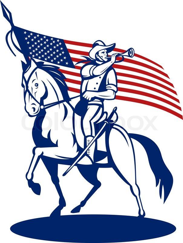 American revolutionary general riding horse Betsy Ross Flag.