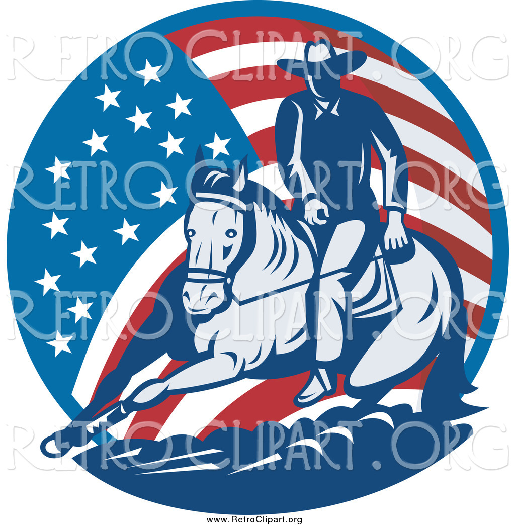 Horse American Flag Clipart.