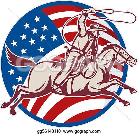 Horse American Flag Clipart.