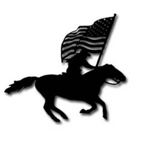 Clipart Picture of a Cowboy On a Horse With a Flag.