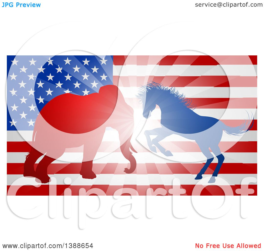 Clipart of a Silhouetted Political Aggressive Democratic Donkey or.