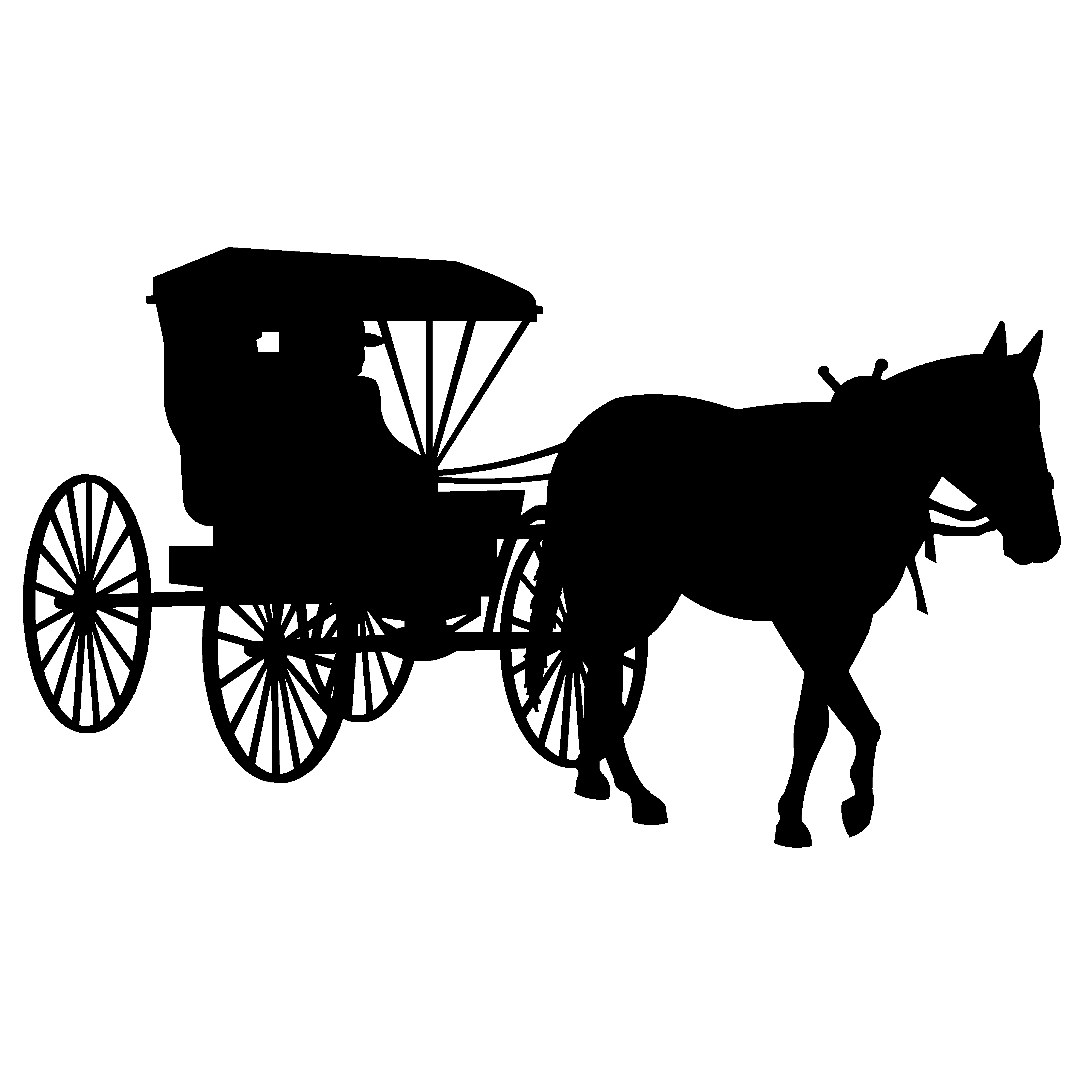 Horse and carriage clip art.