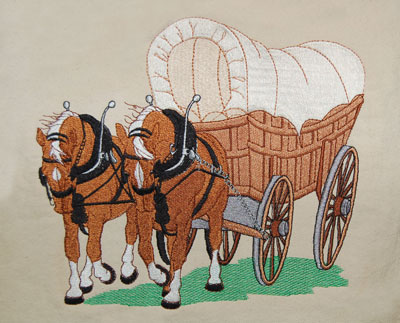 Horse And Covered Wagon Clipart.