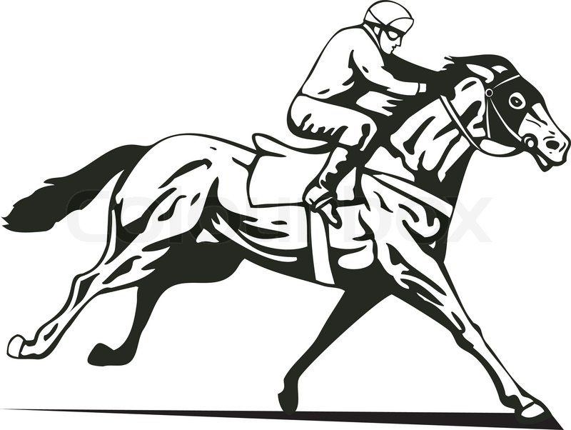 Race Horse And Jockey Silhouette.