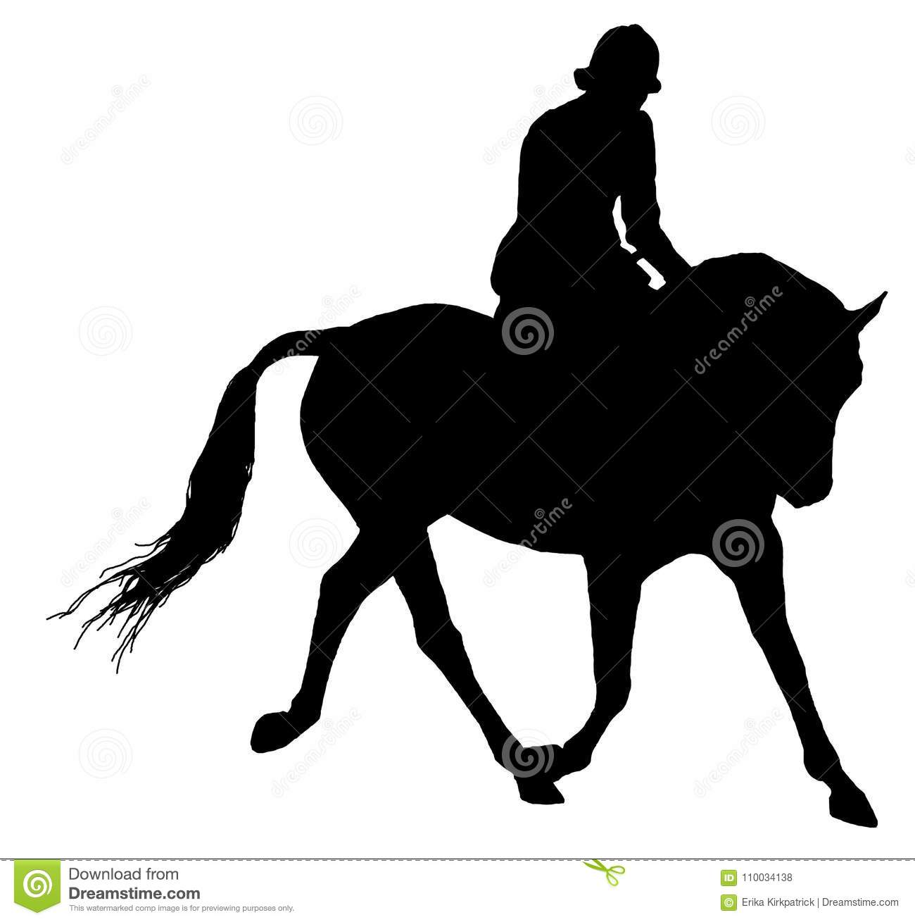 Horse And Rider Silhouette Isolated Stock Illustration.