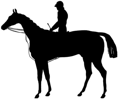 Horse and Rider Silhouette Clip Art.