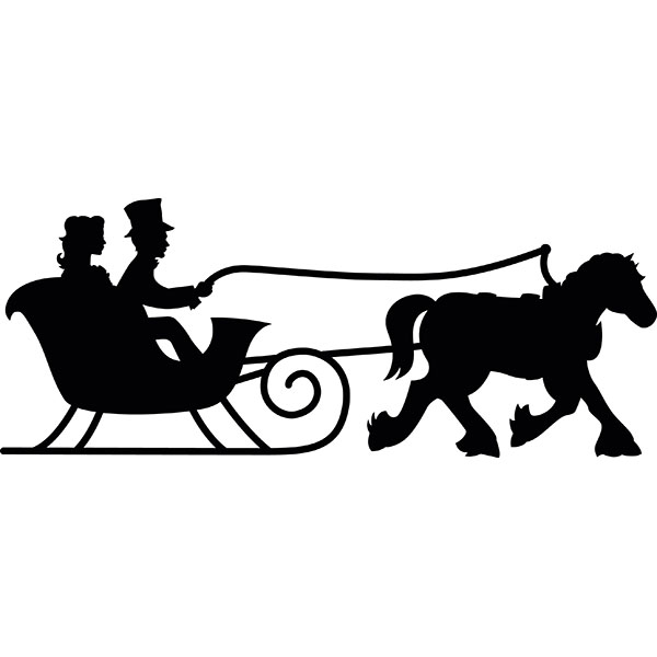 Horse and sleigh silhouette clipart.