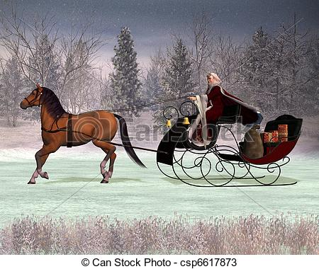 horse and sleigh silhouette clipart #8
