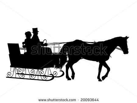 silhouette of couple in horse drawn sleigh.