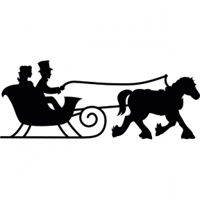 Santa Sleigh Silhouette PNG Clipart Image.