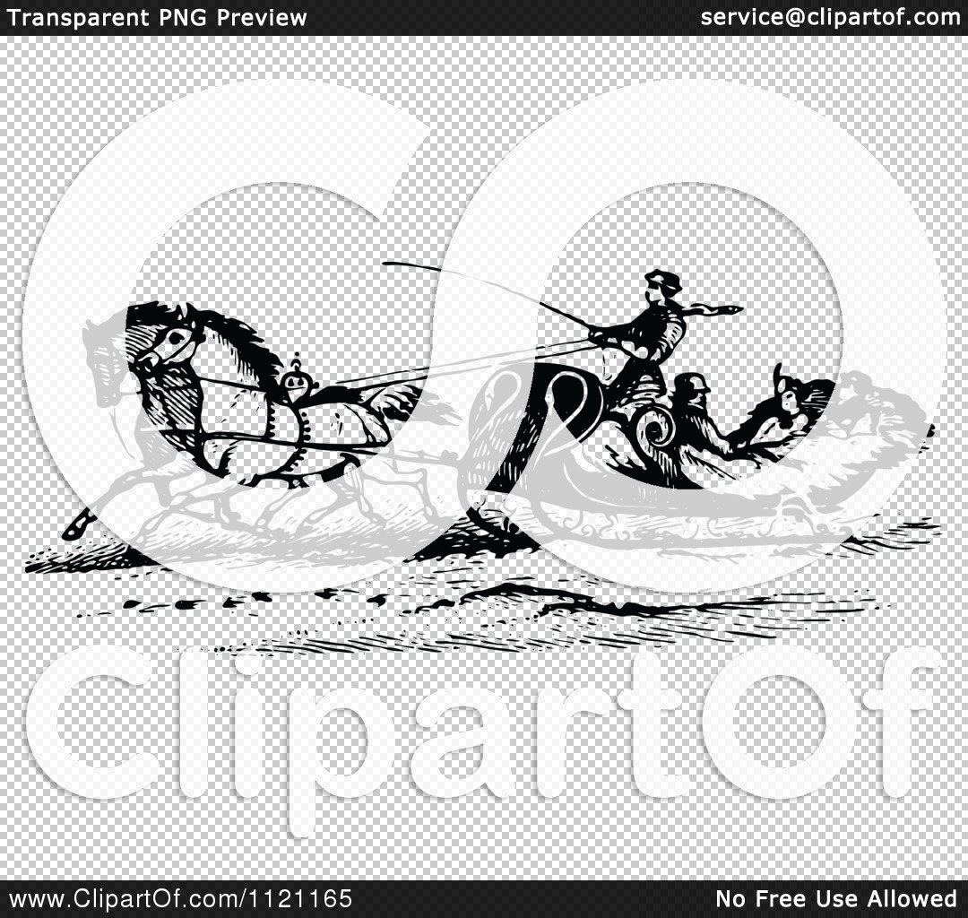 Clipart Of A Retro Vintage Black And White Horse Drawn Sleigh.
