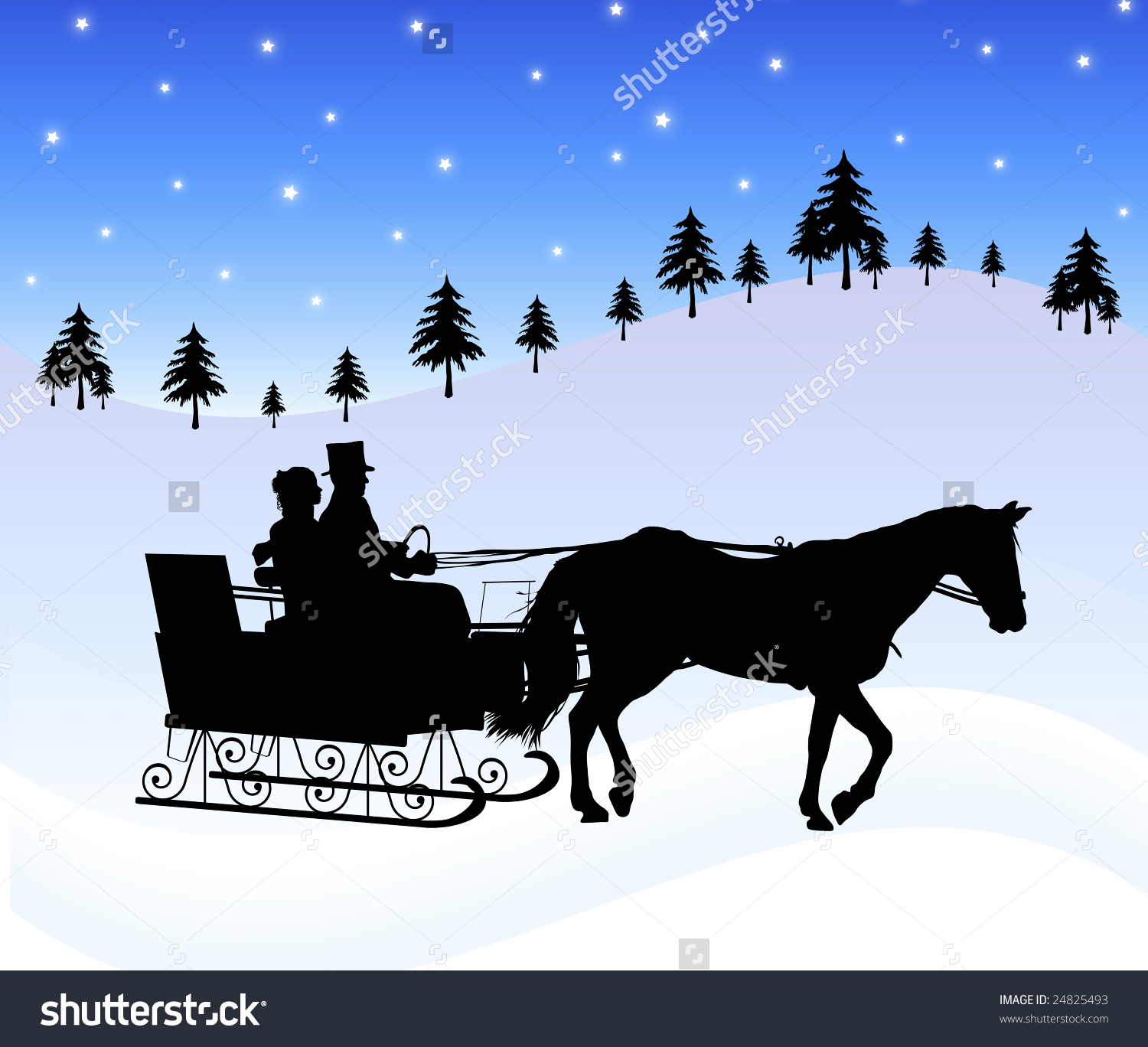 Silhouette Couple Horse Drawn Sleigh Stock Illustration 24825493.