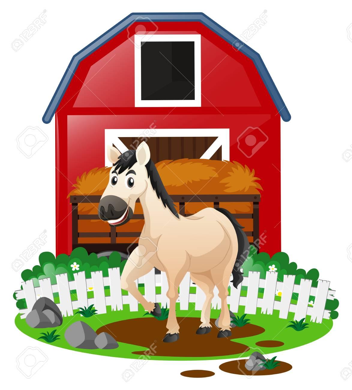 White horse in the farm illustration.
