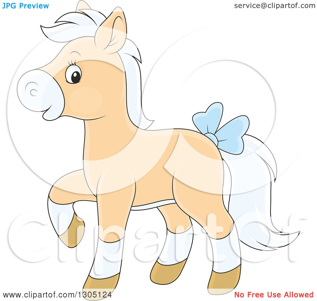 Clipart of a Cartoon Happy Tan and White Horse Pony Walking and.