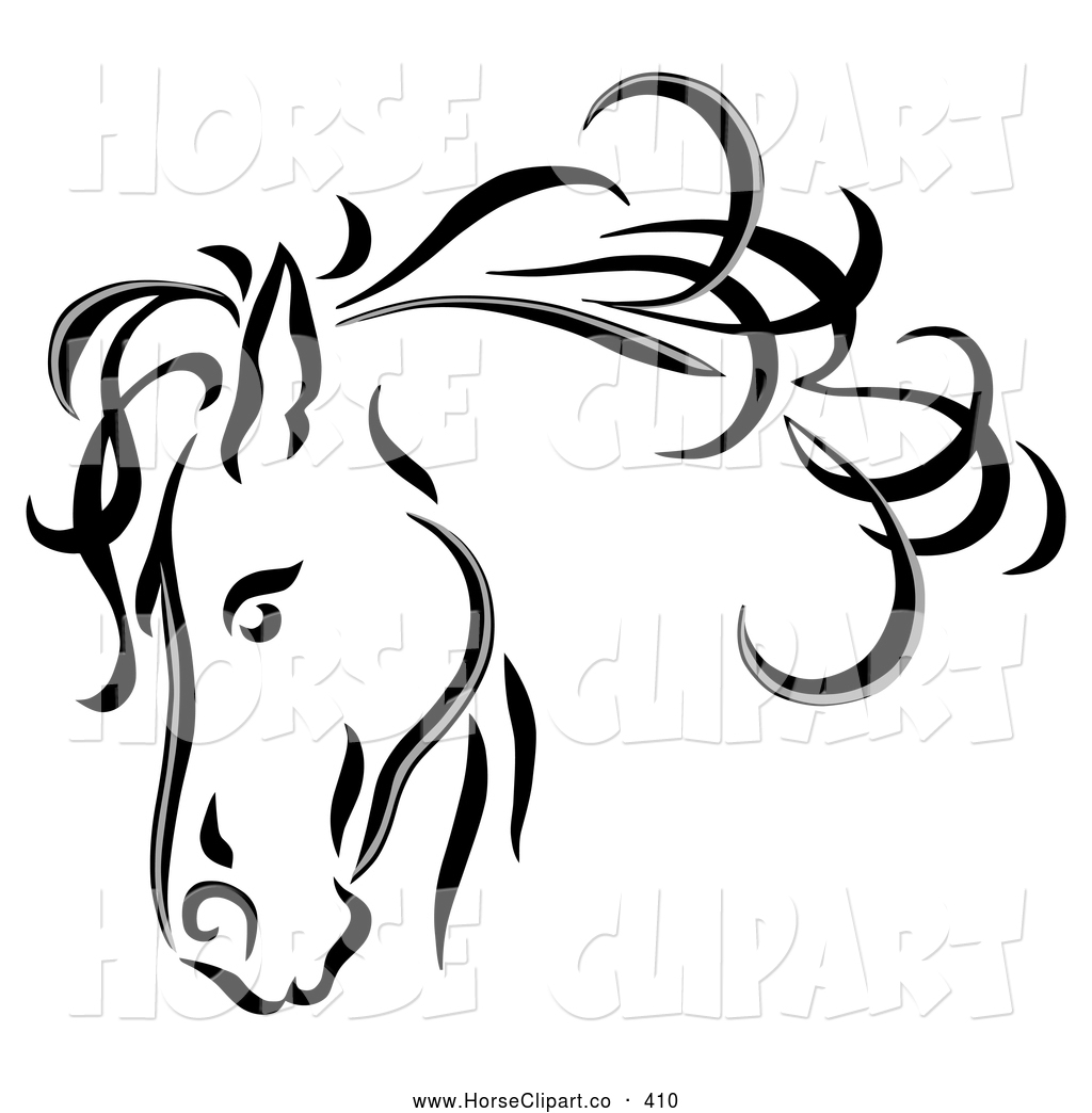 Royalty Free Black and White Stock Horse Designs.