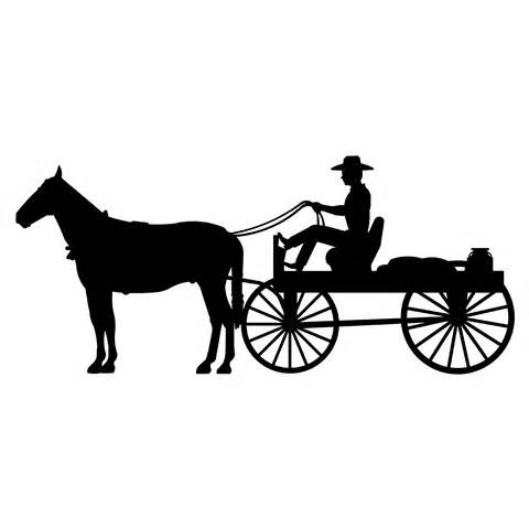 Horse And Carriage Silhouette Clipart.
