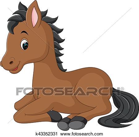 Cute horse cartoon Clipart.