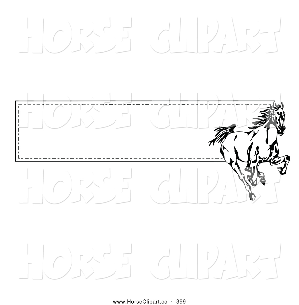 Clip Art of a Spirited Running Wild Black and White Horse over a.