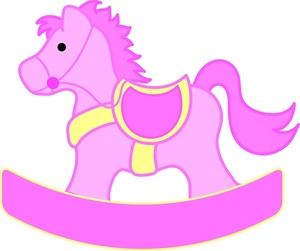 Rocking Horse Clipart Image: Pretty pink rocking horse for a.