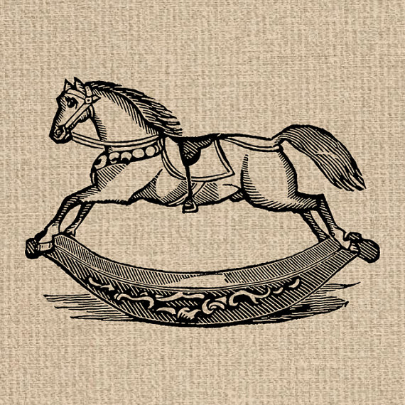 Printable Rocking Horse Image Antique Toy Illustration Rocking.
