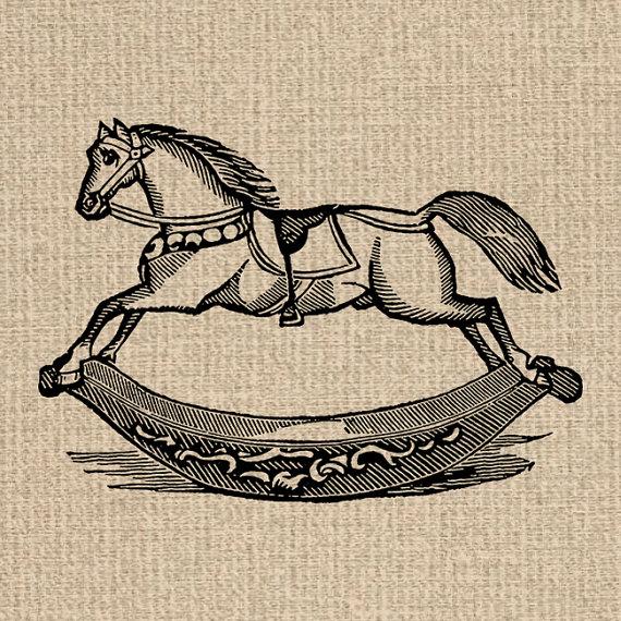 Printable Rocking Horse Image Antique Toy Illustration Rocking.