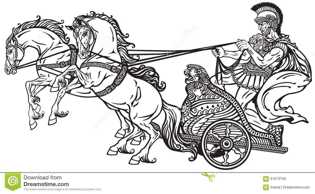 Roman War Chariot Stock Vector.