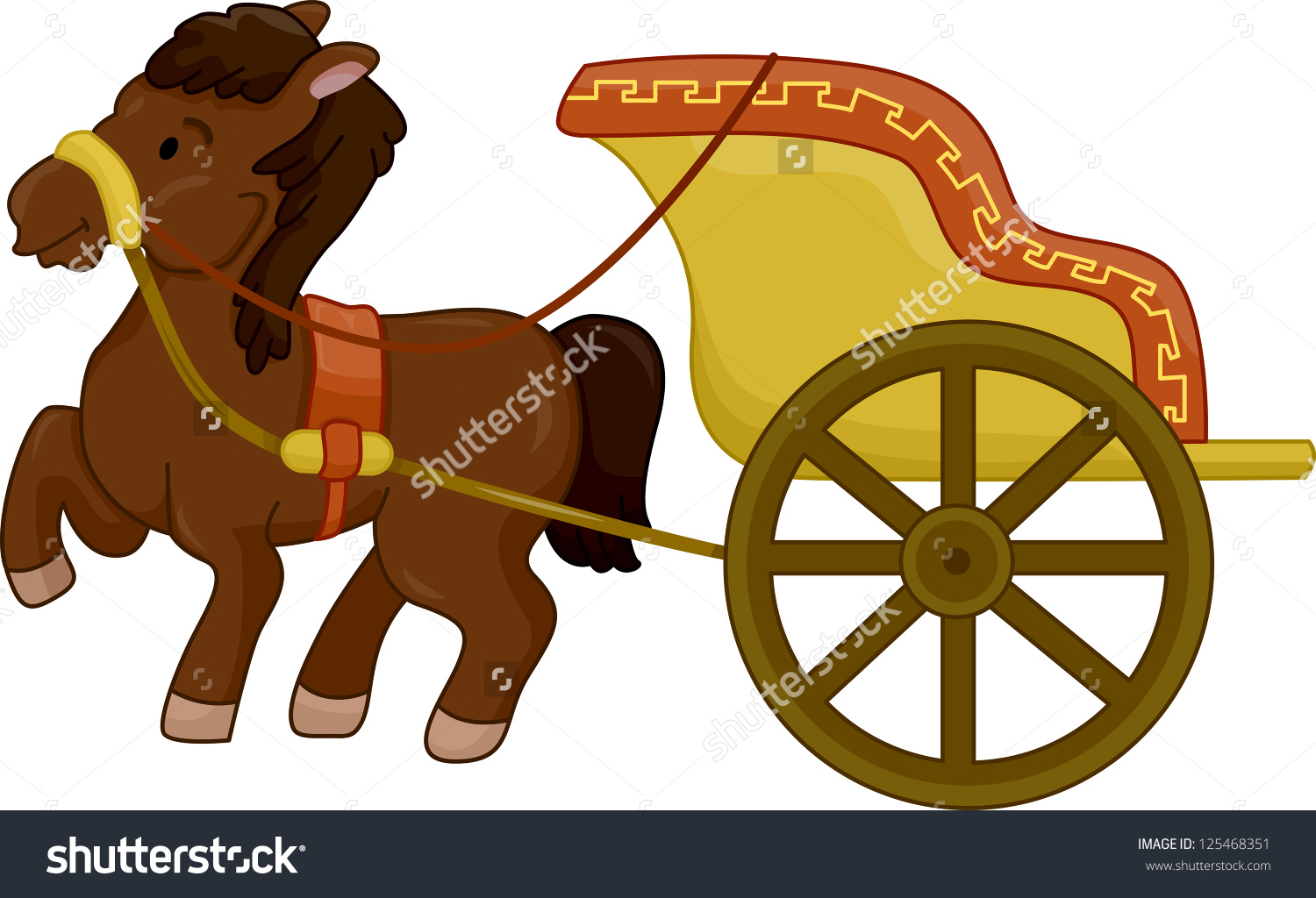 Illustration Horsedrawn Ancient Chariot Stock Vector 125468351.