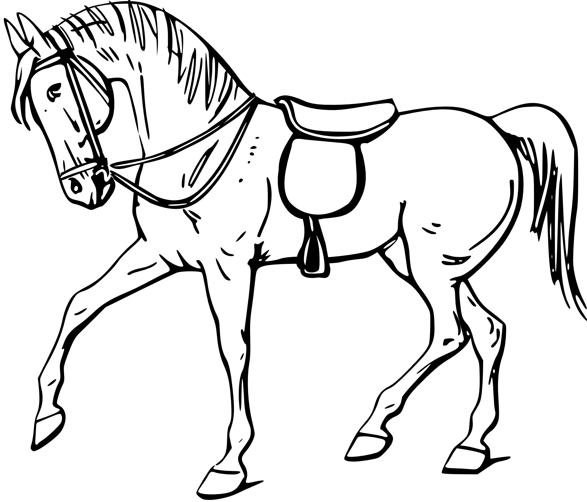 Horse clipart black and white head.