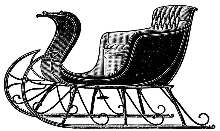vintage sleigh clip art, old catalog page, horse drawn sleigh.