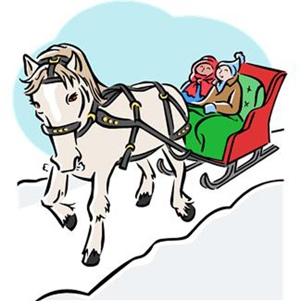 Clipart with horse drawn sled at christmas.