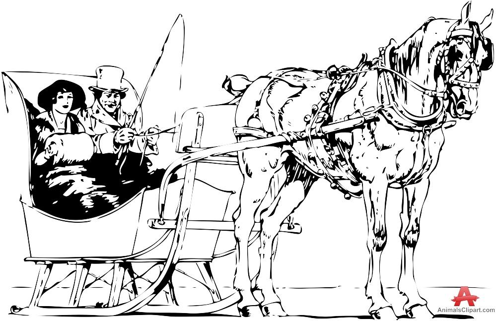 Horse Drawn Sleigh Rides Drawing Clipart.