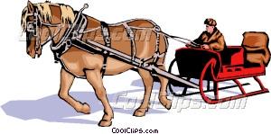 Horse drawn sleigh Vector Clip art.