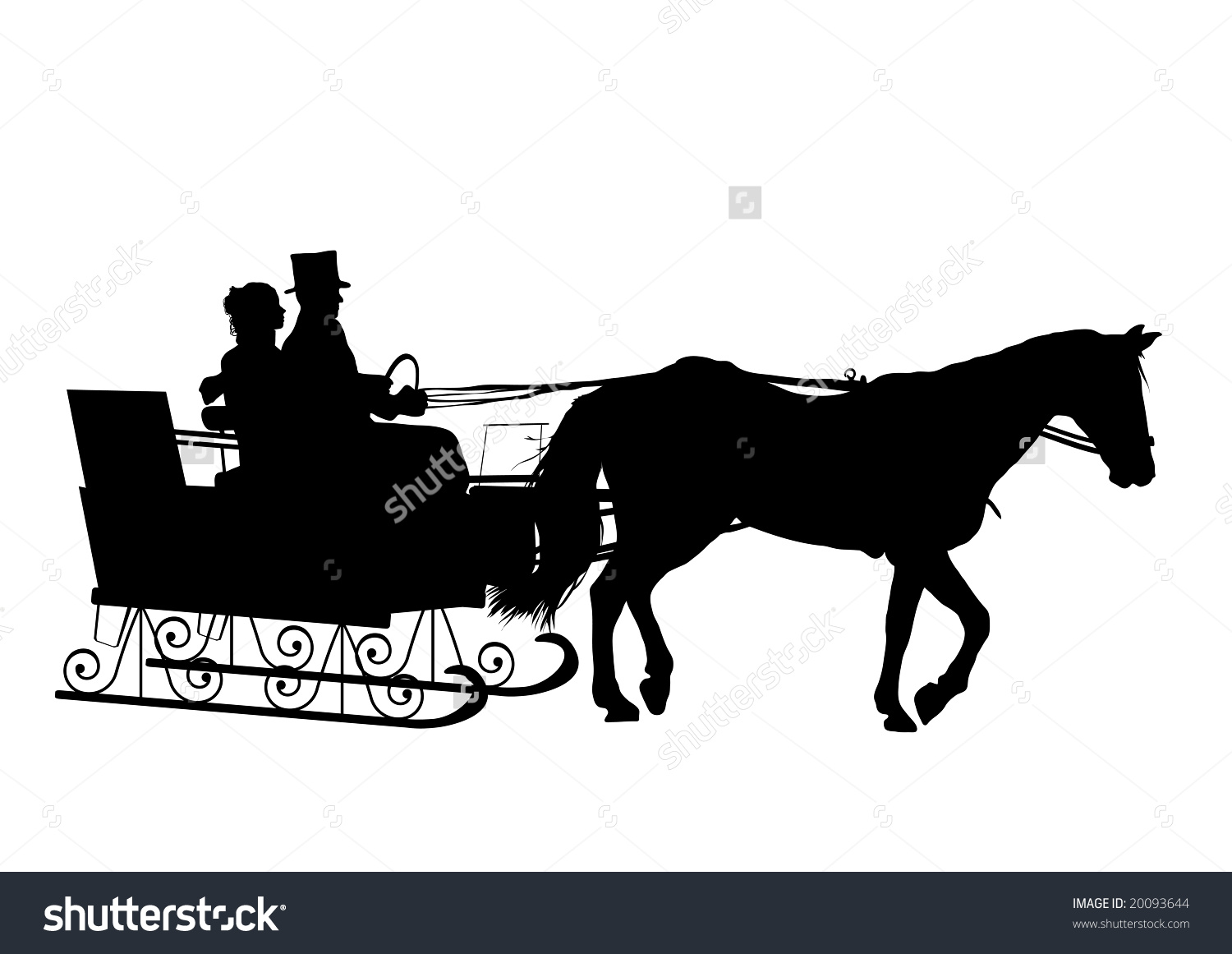 Silhouette Of Couple In Horse Drawn Sleigh Stock Photo 20093644.