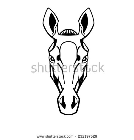 Horse Head Stylization Ears Raised Thoroughbreds Stock Vector.