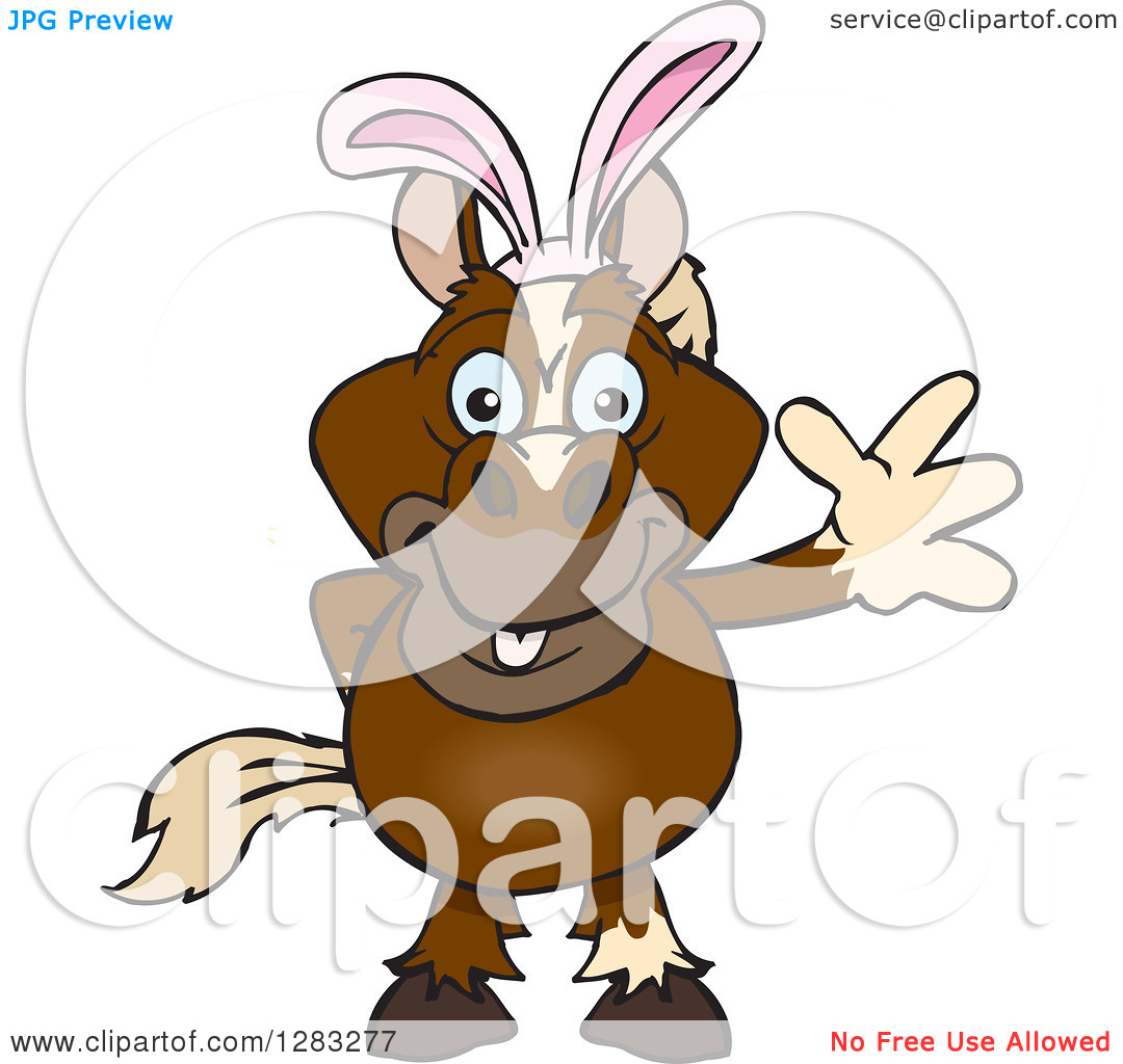 Clipart of a Friendly Waving Brown Horse Wearing Easter Bunny Ears.