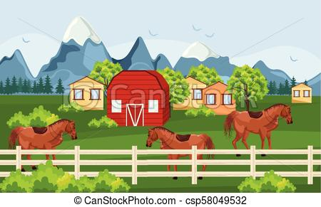 Horses farm, green field Vector. Farm ville sunny summer day backgrounds.