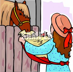 In a Hat Feeding a Horse Some Hay From Her Apron.