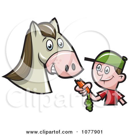 Clipart Boy Feeding A Horse A Carrot.
