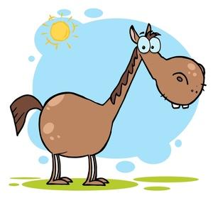 Horse eating grass clipart.