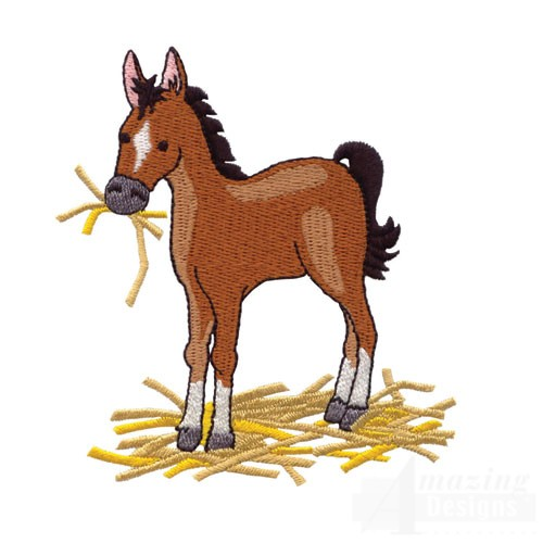 Horse eating hay clipart.