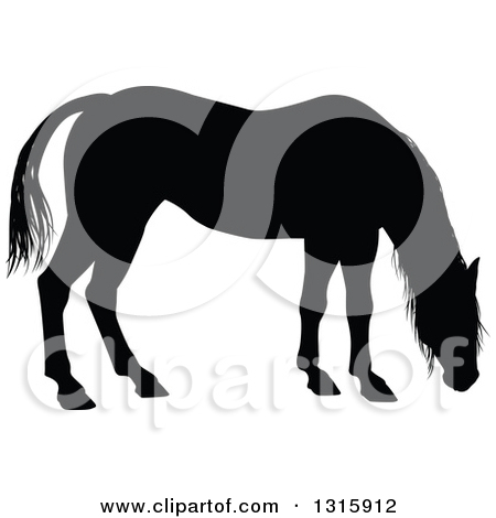 Clipart of a Black Silhouetted Horse Grazing.