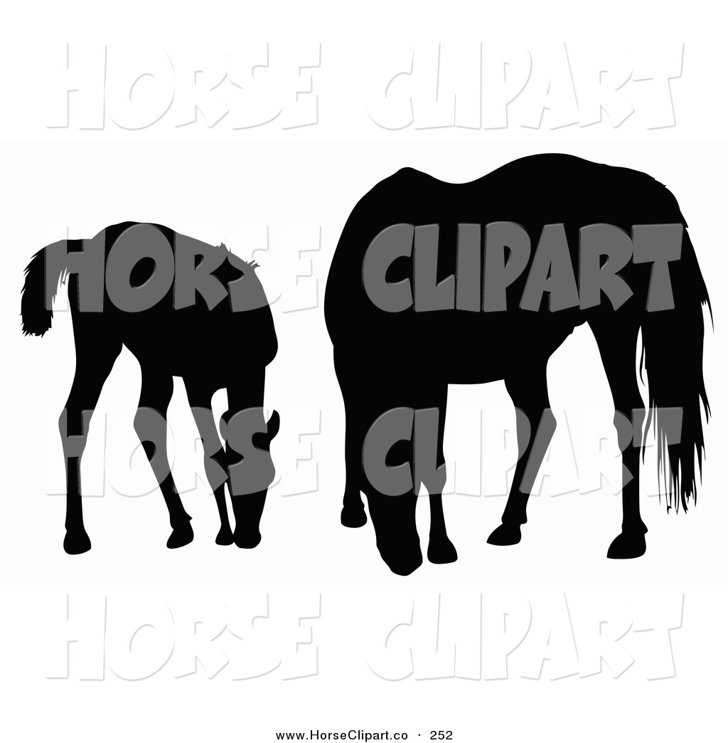 Clip Art of a Silhouette of a Foal and Horse Grazing on White by.