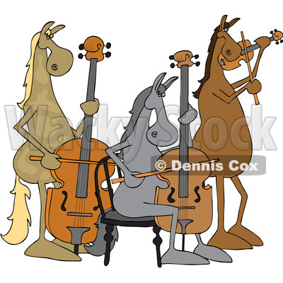 of a Cartoon Group of Horse Musicians Playing a Cello, Double Bass.