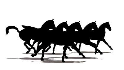 Horses Running Silhouette.