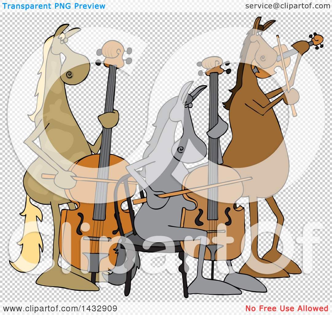 Clipart of a Cartoon Group of Horse Musicians Playing a Cello.